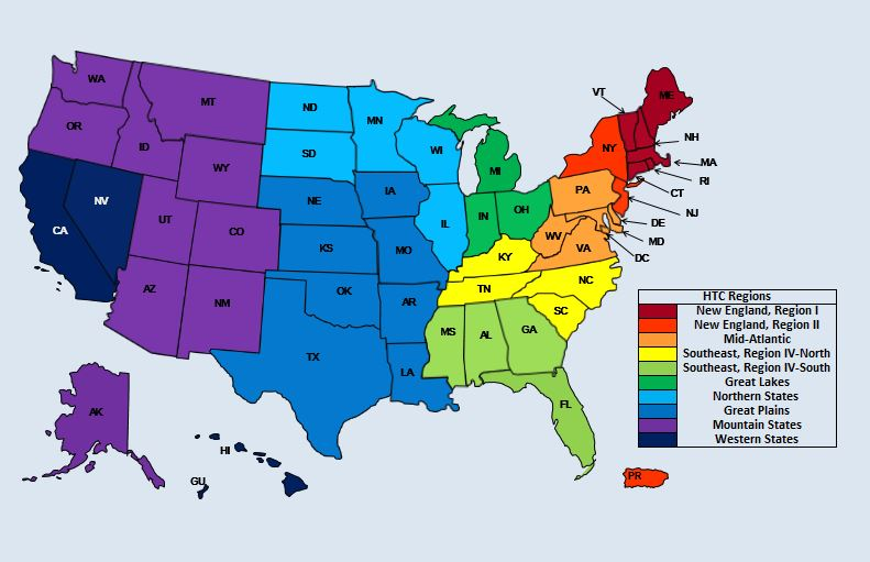 U.S. Hemophilia Treatment Center(HTC) Network - Regions and Regional Centers